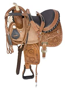 "Brown Rough Out Hand Carved Western Barrel Racing Horse Saddle Tack 15 16 (15"")"