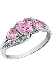 Created Pink Sapphire Heart Ring with Diamonds 1.53 Carat (ctw) in 10K White Gold