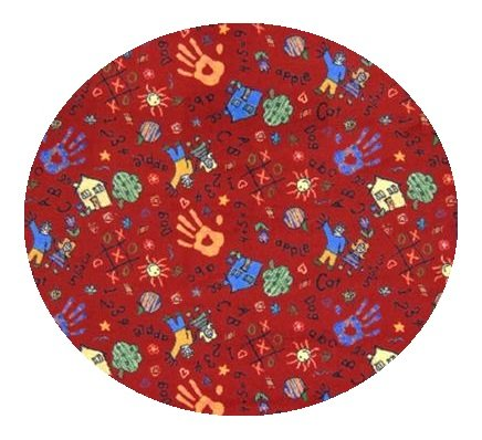 Scribbles Red Multi - 6' Round Custom Stainmaster Premium Nylon Carpet Area Rug ~ Bound Finished Edges front-1036154