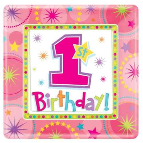 "Amscan One-derful Birthday Girl 7"" Square Plates - 8 ct"
