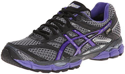 ASICS Women's Gel-Cumulus 16 G-TX Running Shoe,Carbon/Purple/Charcoal,8.5 M US