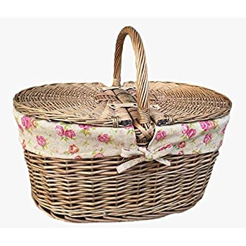Deep Antique Wash Oval Picnic Basket With Rose Lining