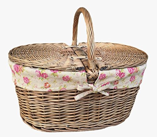 Deep Antique Wash Oval Picnic Basket With Rose Lining 4