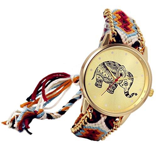 Lancardo-Thailand-Vintage-Adjustable-Woven-Strap-Bracelet-Watch-with-Elephant-Gold-Tone-Plate