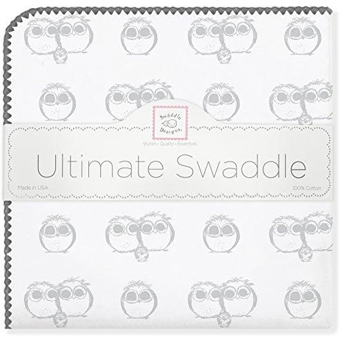 SwaddleDesigns Ultimate Receiving Blanket, Sterling Owls