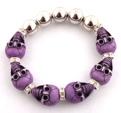 Unisex Half Metal Bead & Purple Two Faced Skull with Iced Out Rondelle Loops Stretch Bracelet