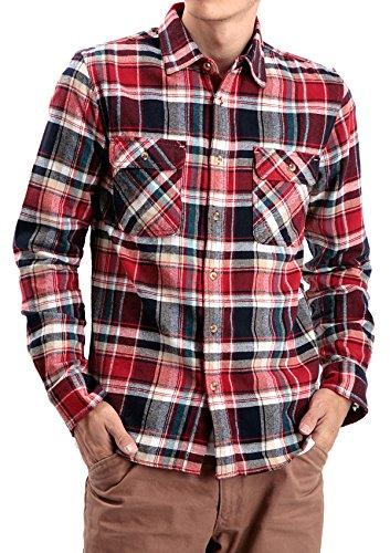 JIGGYS SHOP (ジギーズショップ) コットンネルチェックシャツ M レッド