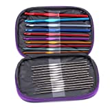Ostart 22pcs Mixed Aluminum Handle Crochet Hook Knitting Knit Needle Weave Yarn Set