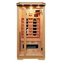 Soozier Wooden Indoor 2 Person Square Heat Room Infrared Sauna w/ Ceramic Heater