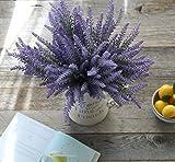Artificial Flower Purple Lavender Bouquet for Home Decor and Wedding Decorations - 8 Bundles