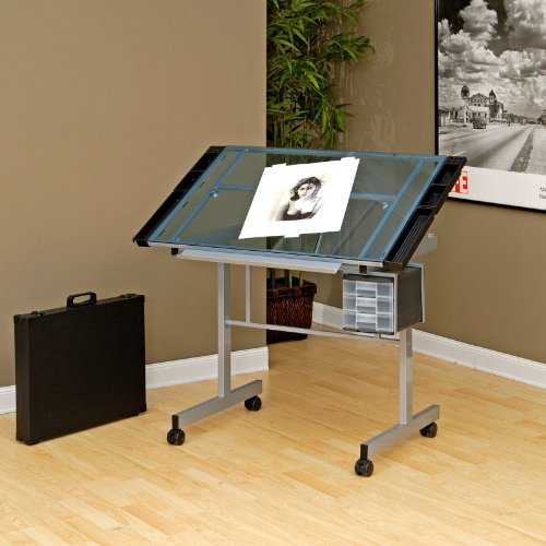 Studio Designs Glass Top Vision Rolling Drafting Table