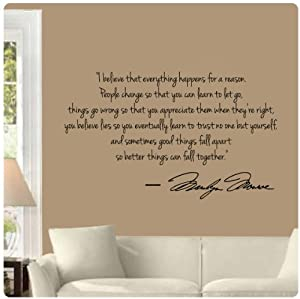 Marilyn Monroe Wall Decal Decor Quote I Believe things happen...Large Nice from Value Decals