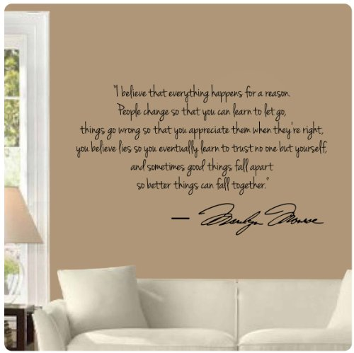Marilyn Monroe Wall Decal Decor Quote I Believe Things Happen...Large Nice  Amazon Price: $12.99 Buy Now (price As Of Feb 8, 2014) Part 78