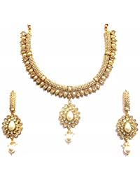 Shingar Jewellery Ksvk Jewels Antique Gold Plated Polki Kundan Necklace Set For Women (9261-as)