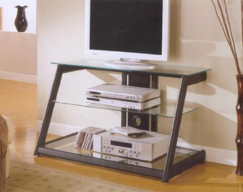 Black Sloped TV Stand With Glass Shelves (B0017DMVTC)