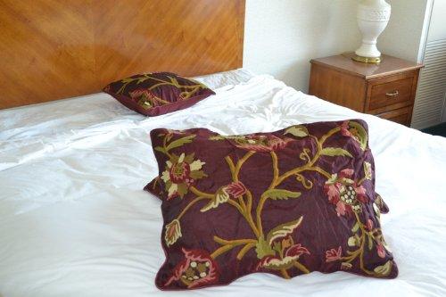 Crewel Pillow Sham Wild Flower Vermilion Silk Organza Standard (20X26)