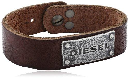 Diesel DX0570040 - Bracciale da uomo, acciaio inossidabile e pelle, 185 mm