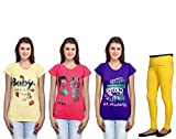 IndiWeaves Girls 3 Cotton T-Shirt with 1 Cotton Jegging (Pack of -4)