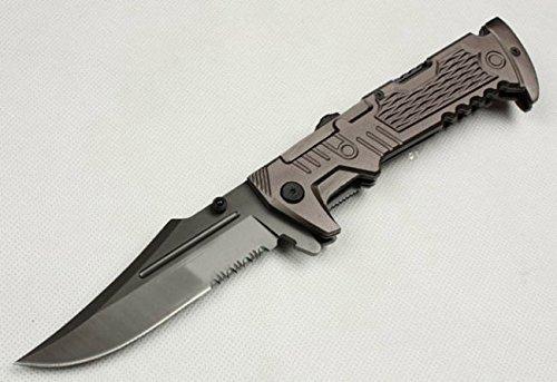 All Black Full Tang Swtooth Pocket Folding Skinner Knife B-998