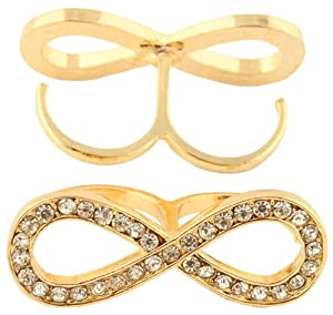 Ladies Gold with Clear Iced Out Thick Infinity Sign Double Finger Ring One Size Fits All