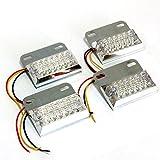 夜間走行 に輝きを放つ 発光 パターン 3種類 角型 12 LED サイド マーカー ランプ ( ホワイト ) 4個セット