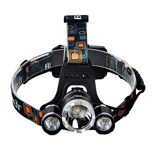 5000 Lumens Max Headlamp, Grde® 3 LED 4 Modes headlight, Hands-free water-resistant Flashlight, Power Bank, Rechargeable Led headlamp for Outdoor Sports with 2 Lithium Batteries (RJ5000) (Looking For Led Head Lights compare prices)
