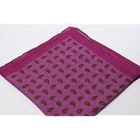 (フェアファクス) FAIRFAX イタリア製 ピンク系 リネン ペイズリー プリント ポケットチーフ pc2382