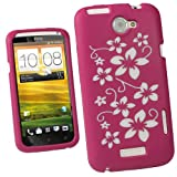 IGadgitz Pink & White Flowers Silicone Skin Case Cover for HTC One X S720e & HTC One X+ Plus Android Smartphone Mobile Phone + Screen Protector