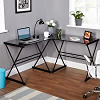 TMS Atrium Metal and Glass L-shaped Computer Desk (Black)