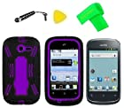 Heavy Duty Hybrid Phone Cover Case Cell Phone Accessory + Extreme Band + Stylus Pen + LCD Screen Protector + Yellow Pry Tool For Straight Talk Net10 Huawei Ascend Y M866 H866C / Huawei Ascend Y 201 U8666 (Black/Purple)