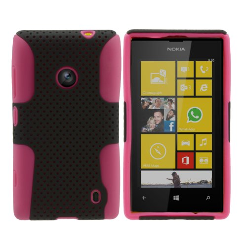 Miniturtle, Premium 2 In 1 Double Layer Perforated Hard Hybrid Phone Case Cover, Clear Screen Protector Film, And Stylus Pen For Windows 8 Smartphone Nokia Lumia 520 /At&T (Black / Pink)