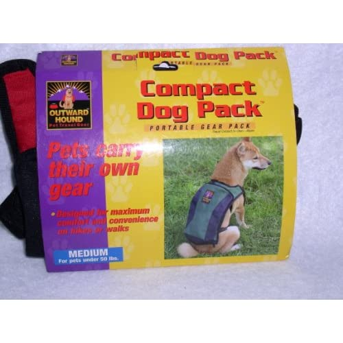 Outward Hound Pet Travel Gear Compact Dog Pack   Red/Black   Portable Gear Pack   Medium, Up to 50lbs