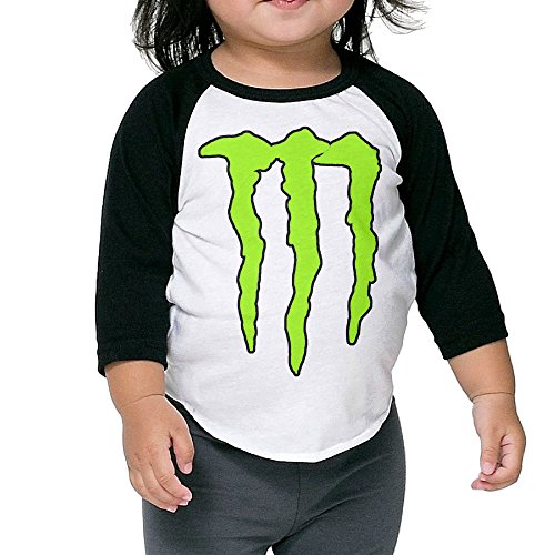 XJBD Kids Boy's & Girl's Power Energy 3/4 Sleeve Blended Baseball Tshirt Size 5-6 Toddler (Monster Energy Apparel Kids compare prices)