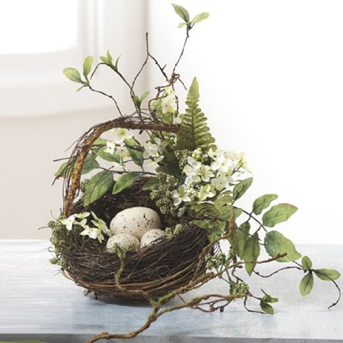 Grapevine, Fern & Leaves Song Bird Nest Basket