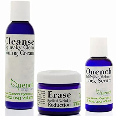 Best Cheap Deal for QuenchOrganics: Best Wrinkle Cream, Vegan Hyaluronic Acid Moisturizing Serum & Cleansing cream for antiaging. Complete healthy skincare system for men, women, dry, oily or sensitive. Reduce appearance of fine lines & wrinkles, repair &