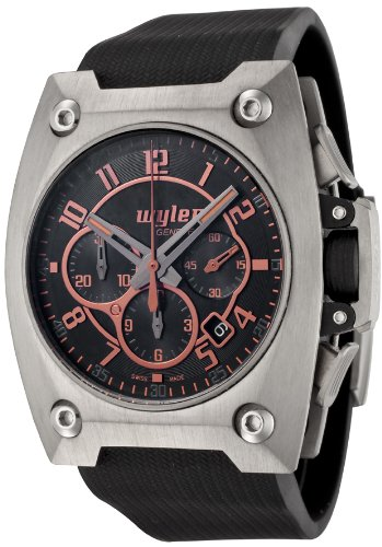 Men's Code R Automatic Chronograph Black Dial Black Rubber