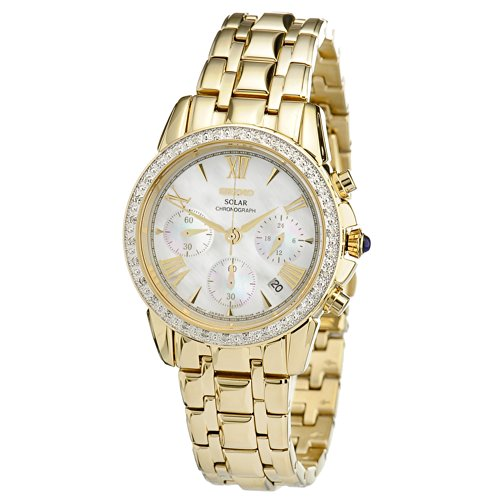 Seiko Women's SSC890 Stainless Steel Diamond-Accented Watch