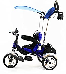 4in1 Pinokyo AIRTM 3 Wheel Kids Tricycle Bike Removable Handle Canopy BLUE NEW
