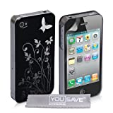 Designer Black And Silver Butterfly Floral Pattern Hard Hybrid IMD Case Cover And Screen Protector For The Apple iPhone 4 / 4S Siri