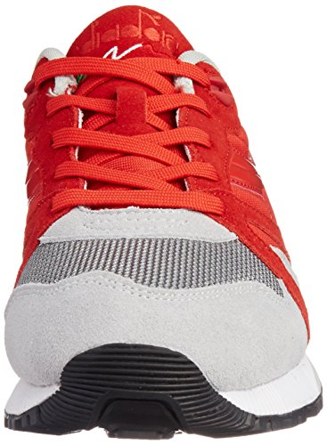 Diadora N9000 NYL Mens Red Gray Suede/Synthetic Lace Up Sneakers Shoes 9