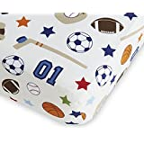 NoJo Fitted Crib Sheet - Sports - Hockey, Football, Soccer, Basketball, Baseball