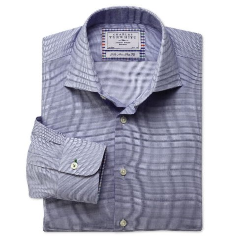 Charles Tyrwhitt Royal micro texture grid non-iron business casual slim fit shirt (15.5 - 35)