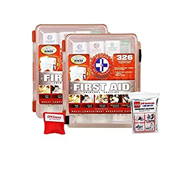 Tactical First Aid Kit: 2 Pack First Aid Kit With Hard Case- 326 pcs each - First Aid Complete Care Kit - CPR Savers Keychain & Emergency Mylar Blanket from Total Resources International Cpr Savers First Aid Supply Llc
