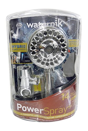 Waterpik Power Spray ShowerHead 14 Mode Spray Settings Hand Held Shower Head with Optiflow PowerSpray Plus with 5' Hose Stainless Steel Hybrid Power Control Chrome-Massage Full Body Spray (Head Held Shower Spray compare prices)