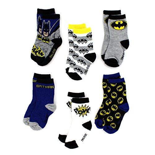 Batman Toddler 6 pack Crew Socks (4T/5T, Batman Pow!)