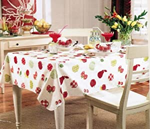 """Paula Deen Vinyl Tablecloth with Flannel Back 70"""" Round Fun Fruit"""