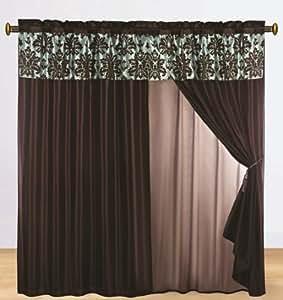 Coffee Brown Chenille Checker Box Panel with Taffeta Backing Window Curtain / Drape Set with Valance-window Treatment Draperies