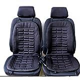 Lot de 2 coussins de siège chauffants pour voiture 12V Noir