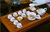Ufingo-White Porcelain Hand Painted Red Peach Blossom And Bird Ceramic Kung Fu Tea Set Tea Service