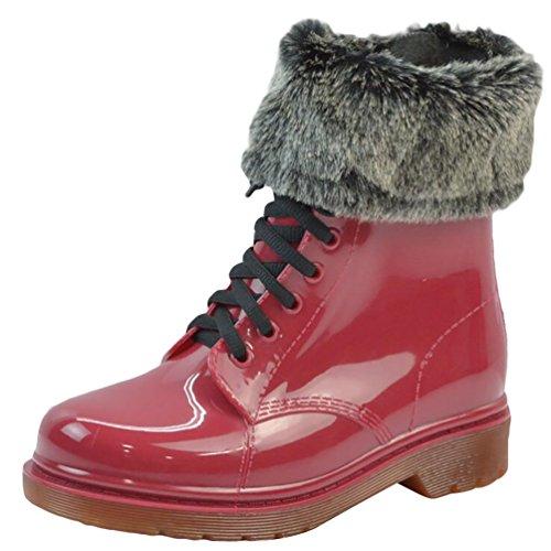 LvRao Boots da Pioggia Neve Impermeabile Donne Giardino Stivali Caviglia Stivaletti con Laccio Stringata Rosso con Pelliccia Dimensione Europea 38